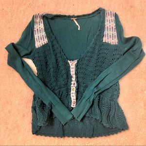Free People teal high low ruffle detail knit S